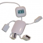 מפצל USB בצורת איש עם שעון דיגיטאלי