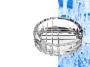 מאפרה עגולה מעוצבת עם עיבודים מזכוכית